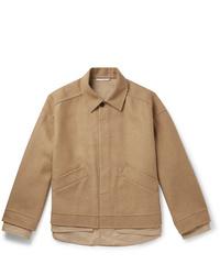 Valentino Oversized Layered Camel Hair Bend Blouson Jacket