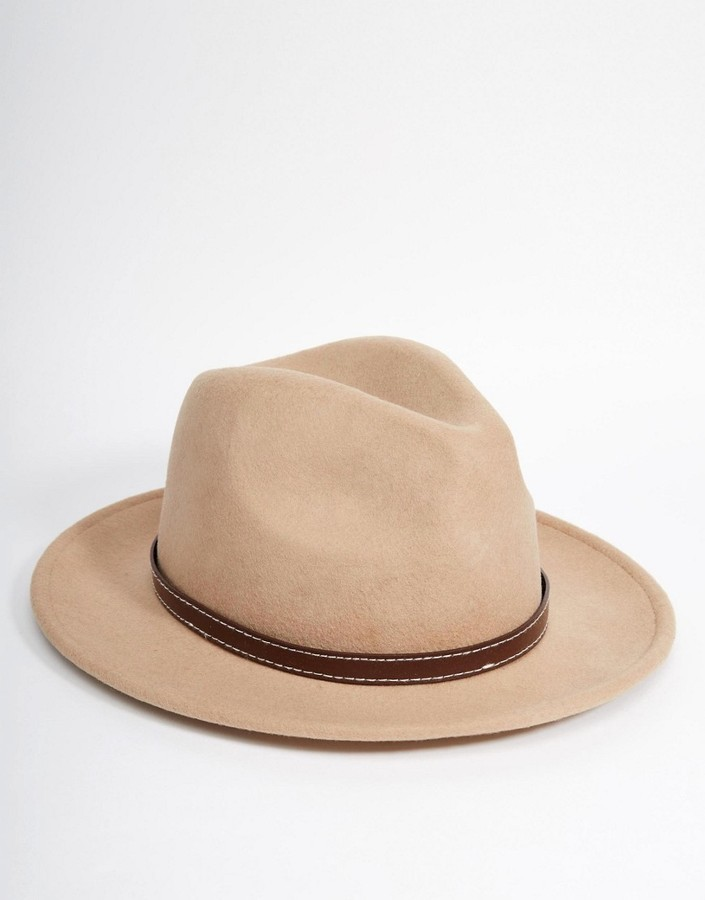 ... Tan Wool Hats Asos Brand Fedora Hat In Stone Felt With Faux Leather  Band ... db4e947aad4