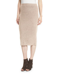Tan Wool Pencil Skirt