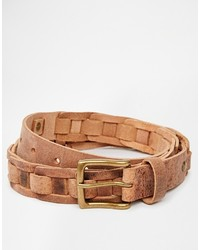 Asos Brand Woven Belt In Tan Leather