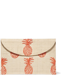 Kayu Pineapple Embroidered Woven Straw Clutch Beige