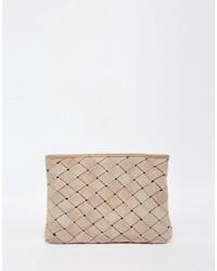 Asos Suede Woven Clutch Bag