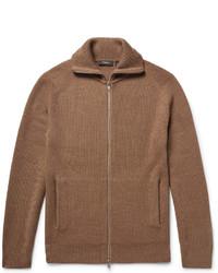 Theory Ronzons Ribbed Merino Wool Zip Up Sweater