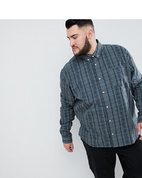 BadRhino Big Long Sleeve Check Shirt In Khaki