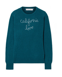 Teal Embroidered Crew-neck Sweater