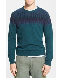 Teal Fair Isle Crew-neck Sweater