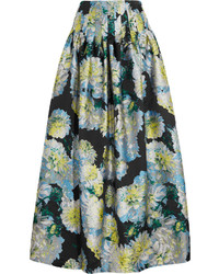 ADAM by Adam Lippes Adam Lippes Pleated Floral Jacquard Maxi Skirt Blue