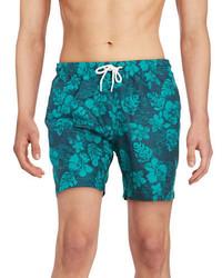 Teal Floral Shorts