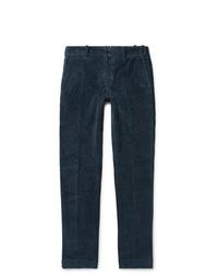 Incotex Storm Blue Slim Fit Stretch Cotton Corduroy Trousers