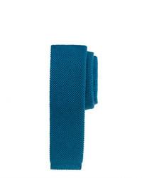 Wool knit tie in blue sapphire medium 23470