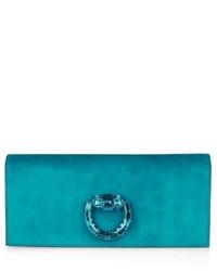 Gucci Broadway Crystal Embellished Suede Clutch