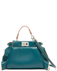 Peekaboo micro ruffle trimmed leather shoulder bag petrol medium 818922
