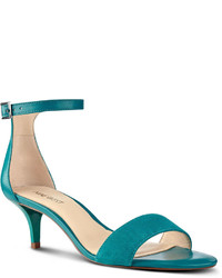 Teal Leather Heeled Sandals