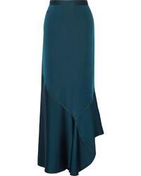 By Malene Birger Zalah Stretch Satin Jersey Maxi Skirt Petrol