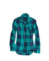 Teal Plaid Dress Shirt