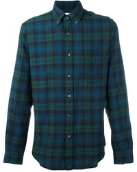 Teal Plaid Long Sleeve Shirt