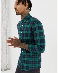 ASOS DESIGN Stretch Slim Fit Check Shirt In Navy Green