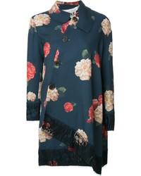 Awake Floral Print Asymmetric Coat