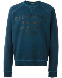 Teal Print Crew-neck Sweater