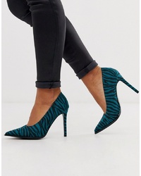 ASOS DESIGN Powerful High Heeled Court Shoes In Blue Zebra