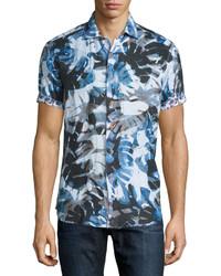 Teal Print Short Sleeve Shirt