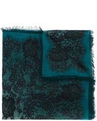 Teal Print Silk Scarf