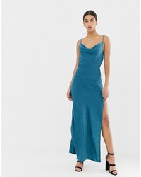 Missguided Satin Cowl Neck Maxi Slip Dress In Blue