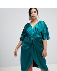 John Zack Plus Knot Front Satin Midi Dress In Green