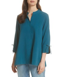 Teal Silk Long Sleeve Blouse