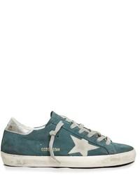 Teal Suede Low Top Sneakers