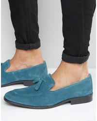 Loafers in blue suede with tassel medium 755026
