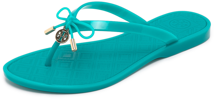 4296fedcf6f5 ... Teal Thong Sandals Tory Burch Jelly Bow Thong Sandals ...