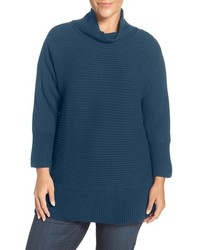 Vince Camuto Plus Size Ribbed Cotton Blend Turtleneck Sweater