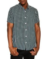 Teal Vertical Striped Short Sleeve Shirt