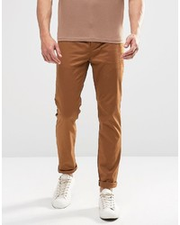 Asos Brand Slim Chinos In Brown