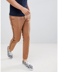 ASOS DESIGN Slim Cropped Trousers In Camel With Black Side Piping