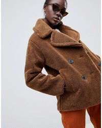 Warehouse Double Breasted Teddy Coat In Tobacco