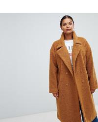 Missguided Plus Longline Borg Coat In Brown