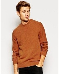 Boss Orange Sweater With Reverse Seam Crew Neck Tobacco