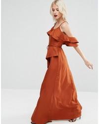 Asos Cold Shoulder Ruffle Cami Maxi Dress