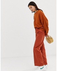 Weekday Ace Wide Leg Jeans In Rust