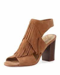 Tobacco Fringe Suede Heeled Sandals