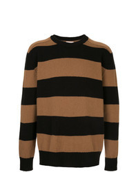 Tobacco Horizontal Striped Crew-neck Sweater