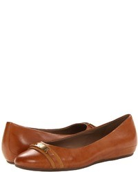 Tobacco Leather Ballerina Shoes