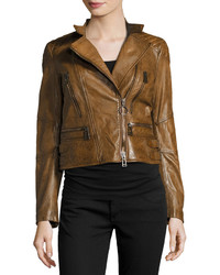 Tobacco Leather Biker Jacket