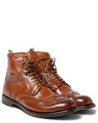 Tobacco Leather Brogue Boots
