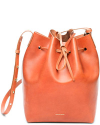 Mansur Gavriel Vegetable Tanned Leather Bucket Bag Medium Brown