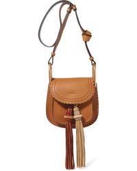 Chloé Hudson Mini Whipstitched Leather Shoulder Bag Brown