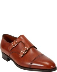 Tobacco Leather Double Monks