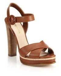 Prada Stacked Heel Leather Platform Sandals